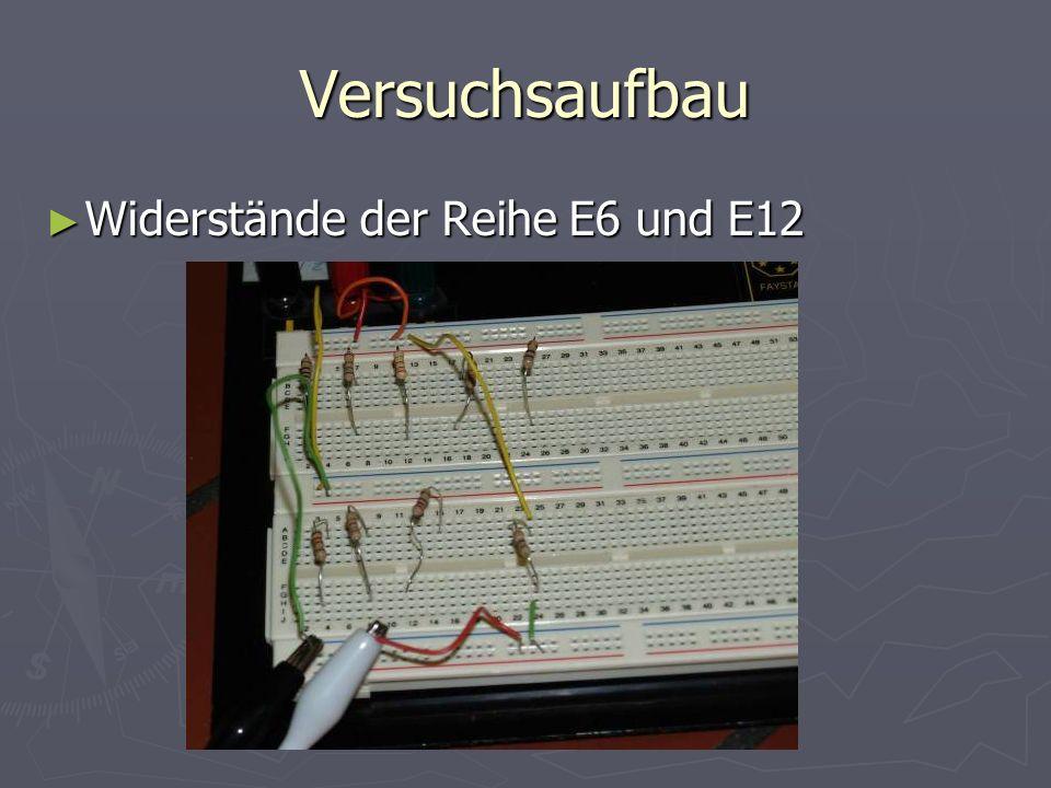Versuchsaufbau Widerstände der Reihe E6 und E12 Widerstände der Reihe E6 und E12