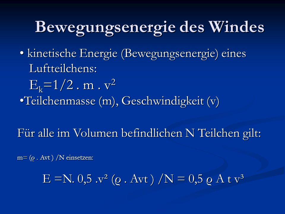 Die Windleistung Leistung = Energie pro Zeiteinheit P = E / t = 0,5 ρ A v³ Sie ist demnach abhängig von der Luftdichte, von der Anströmfläche der Rotorblätter und von der Windgeschwindigkeit hoch 3!