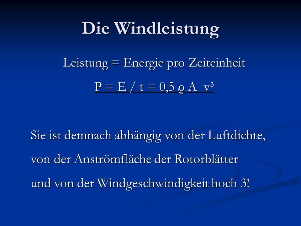 Windkraftwerk in Ysper Rotorblattfläche hat 3 m Durchmesser Rotorblattfläche hat 3 m Durchmesser A=r 2 π=(d/2) 2 π= 7, 07m 2 A=r 2 π=(d/2) 2 π= 7, 07m 2 Luftdichte ρ = 1,3 kg/m 3 Luftdichte ρ = 1,3 kg/m 3 Die Leistung kann im Idealfall unserer Modellrechnung für das Schul-Windkraftwerk dann so beschrieben werden: P = 4,596 v³ P = 4,596 v³