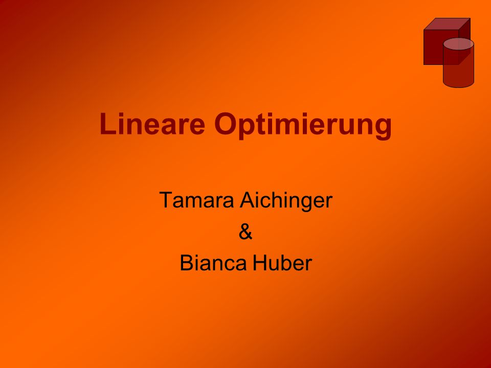 Lineare Optimierung Tamara Aichinger & Bianca Huber