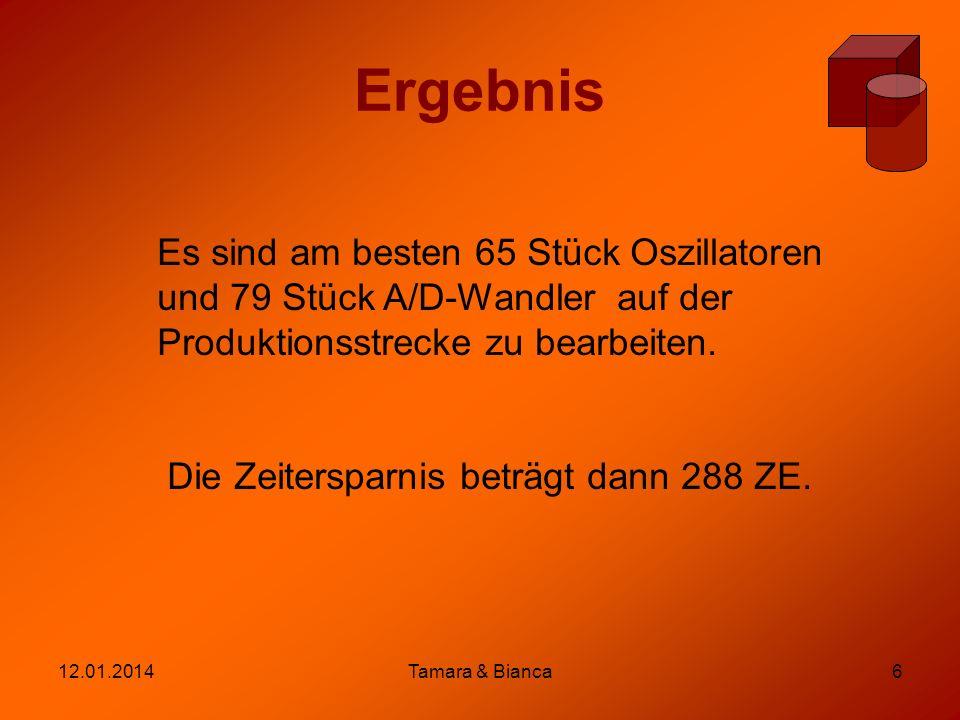 12.01.2014Tamara & Bianca6 Ergebnis Es sind am besten 65 Stück Oszillatoren und 79 Stück A/D-Wandler auf der Produktionsstrecke zu bearbeiten. Die Zei