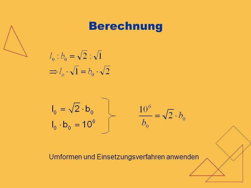 Berechnung Umformen und Einsetzungsverfahren anwenden