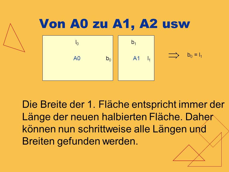 Von A0 zu A1, A2 usw b 0 = l 1 A0 l0l0 b0b0 b1b1 l1l1 A1 Die Breite der 1. Fläche entspricht immer der Länge der neuen halbierten Fläche. Daher können