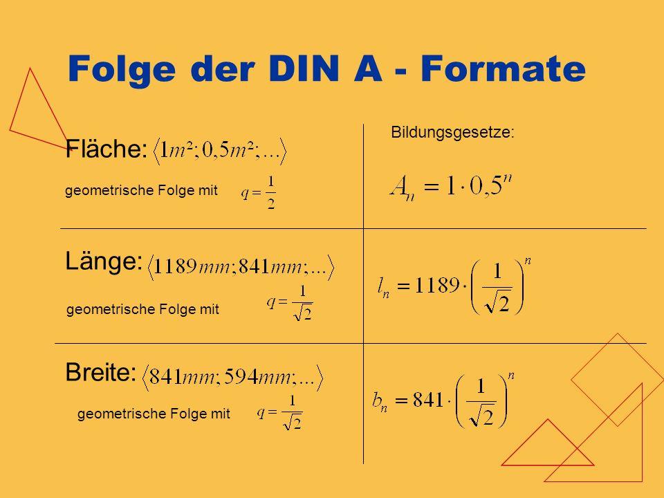 Folge der DIN A - Formate Fläche: geometrische Folge mit Länge: Breite: Bildungsgesetze: geometrische Folge mit