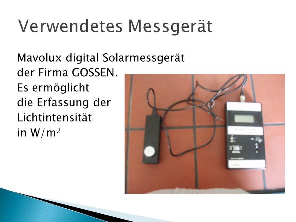 Mavolux digital Solarmessgerät der Firma GOSSEN. Es ermöglicht die Erfassung der Lichtintensität in W/m 2