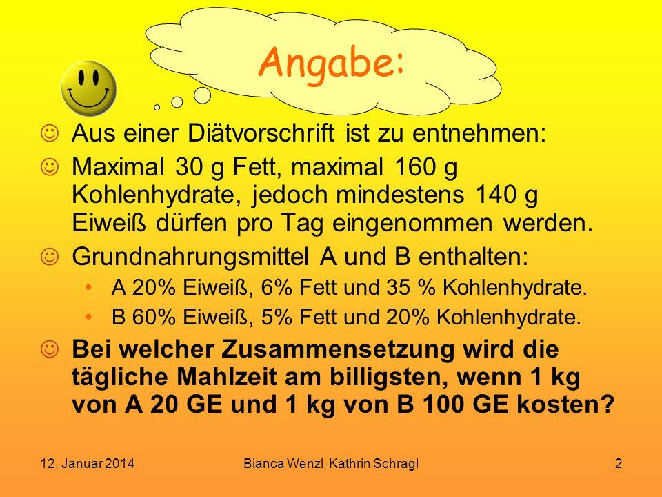 12. Januar 2014Bianca Wenzl, Kathrin Schragl2 Angabe: Aus einer Diätvorschrift ist zu entnehmen: Maximal 30 g Fett, maximal 160 g Kohlenhydrate, jedoc