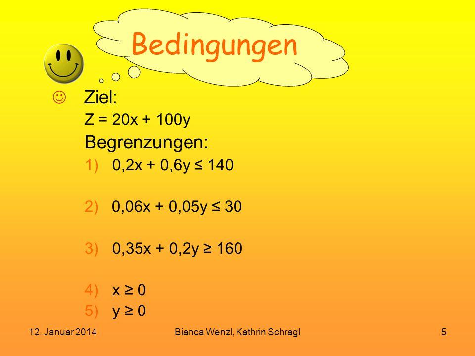 12. Januar 2014Bianca Wenzl, Kathrin Schragl5 Bedingungen Ziel: Z = 20x + 100y Begrenzungen: 1)0,2x + 0,6y 140 2) 0,06x + 0,05y 30 3)0,35x + 0,2y 160
