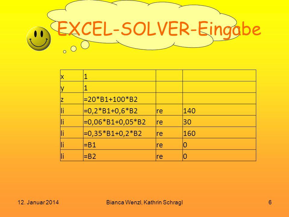 12. Januar 2014Bianca Wenzl, Kathrin Schragl6 EXCEL-SOLVER-Eingabe x1 y1 z=20*B1+100*B2 li=0,2*B1+0,6*B2re140 li=0,06*B1+0,05*B2re30 li=0,35*B1+0,2*B2