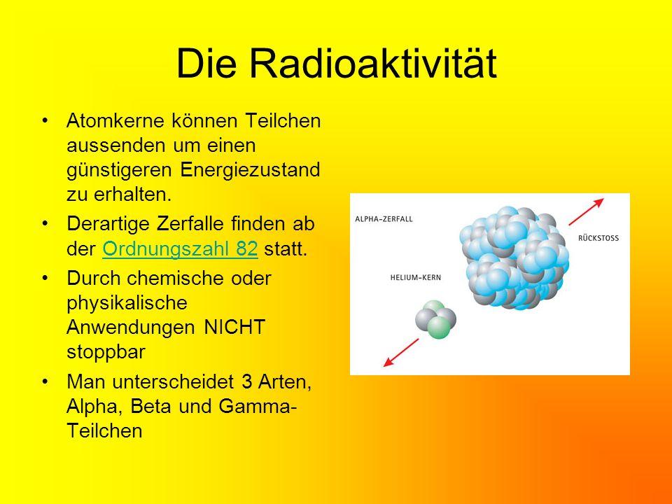 Der Alpha Zerfall Beim Alpha Zerfall stößt der Kern 2 Neutronen und 2 Protonen ab, es entsteht ein neuer Kern im Periodensystem 2 Plätze vorgerückt Massenzahl nimmt um 4 ab.