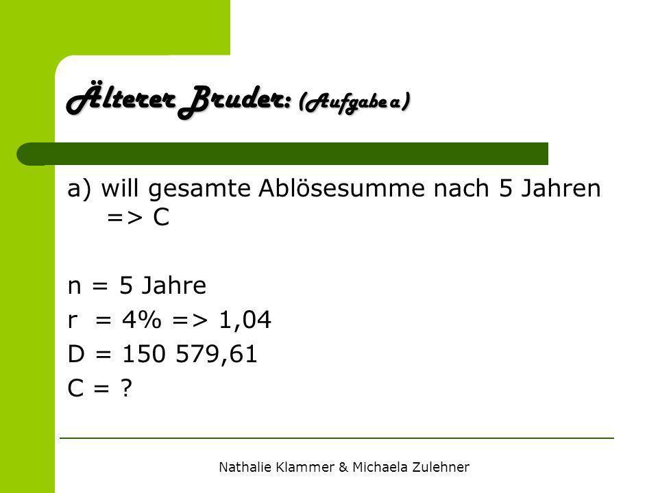 Nathalie Klammer & Michaela Zulehner a) will gesamte Ablösesumme nach 5 Jahren => C n = 5 Jahre r = 4% => 1,04 D = 150 579,61 C = ? Älterer Bruder: (A