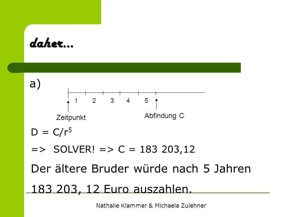 Nathalie Klammer & Michaela Zulehner a) daher... D = C/r 5 => SOLVER! => C = 183 203,12 Der ältere Bruder würde nach 5 Jahren 183 203, 12 Euro auszahl