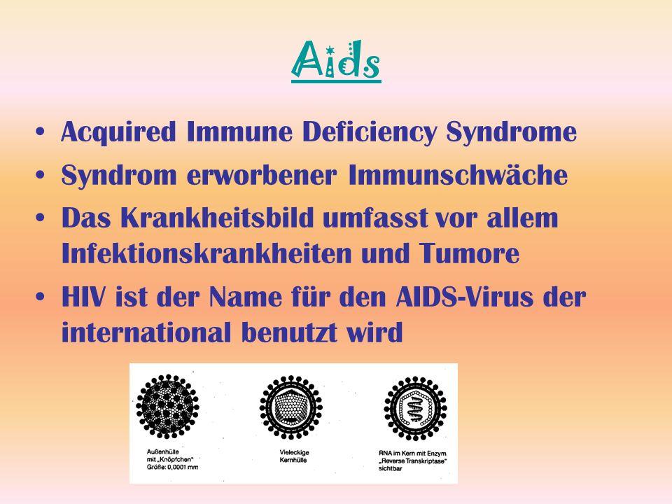 Aids Acquired Immune Deficiency Syndrome Syndrom erworbener Immunschwäche Das Krankheitsbild umfasst vor allem Infektionskrankheiten und Tumore HIV is