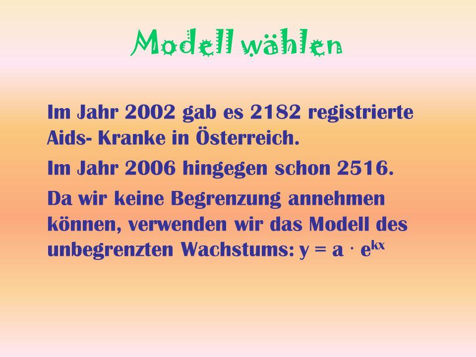 Modell wählen Im Jahr 2002 gab es 2182 registrierte Aids- Kranke in Österreich. Im Jahr 2006 hingegen schon 2516. Da wir keine Begrenzung annehmen kön