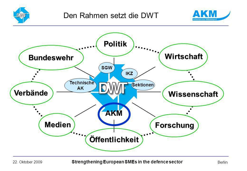 22. Oktober 2009 Strengthening European SMEs in the defence sector Berlin Den Rahmen setzt die DWT Politik Wirtschaft Wissenschaft Medien Verbände For