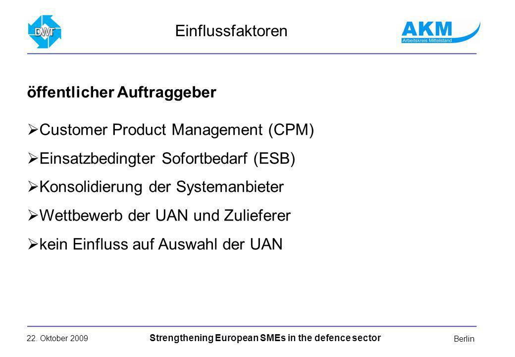 22. Oktober 2009 Strengthening European SMEs in the defence sector Berlin Customer Product Management (CPM) Einsatzbedingter Sofortbedarf (ESB) Konsol