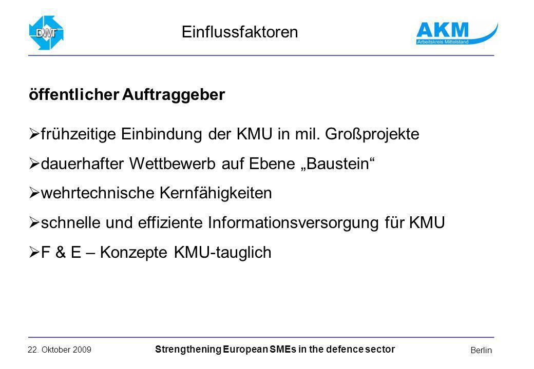 22. Oktober 2009 Strengthening European SMEs in the defence sector Berlin frühzeitige Einbindung der KMU in mil. Großprojekte dauerhafter Wettbewerb a
