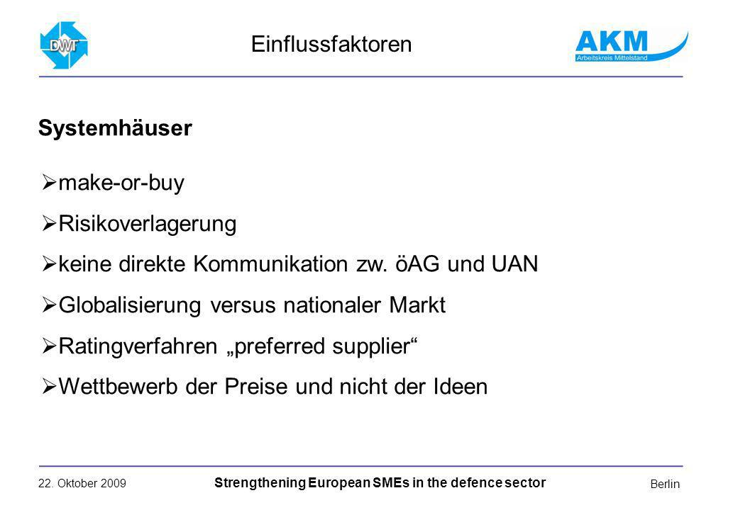 22. Oktober 2009 Strengthening European SMEs in the defence sector Berlin make-or-buy Risikoverlagerung keine direkte Kommunikation zw. öAG und UAN Gl