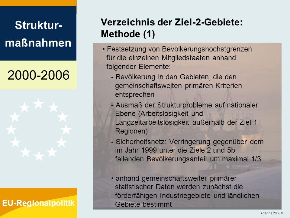 2000-2006 Struktur- maßnahmen EU-Regionalpolitik Agenda 2000 7 Verzeichnis der Ziel-2-Gebiete: Methode (2) anschließend legen die Mitgliedstaaten das Verzeichnis der von ihnen vorgeschlagenen Fördergebiete vor, wobei sie die gemeinschaftsweiten und andere, nationale Kriterien heranziehen die anhand der gemeinschaftsweiten Kriterien bestimmten Gebiete müssen nach Möglichkeit mindestens 50% der in einem Mitgliedstaat unter Ziel 2 fallenden Bevölkerung umfassen das endgültige Verzeichnis wird nach Konsultationen mit den Mitgliedstaatenfestgelegt; die endgültige Entscheidung liegt bei der Kommission