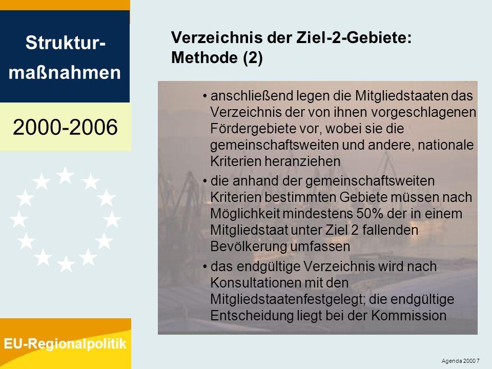 2000-2006 Struktur- maßnahmen EU-Regionalpolitik Agenda 2000 18 Übergangsbestimmungen keine abrupte Einstellung der EU- Förderung für die Regionen ehemalige Ziel-1-Regionen: 2000-2005: schrittweise verringerte Unterstützung aus dem EFRE, ESF, EAGFL-Ausrichtung und FIAF 2006: für diejenigen Teile der Regionen, die die Kriterien für Ziel 2 erfüllen: Ausweitung des Programms für die übrigen Gebiete: weitere Unterstützung aus dem ESF, EAGFL-Ausrichtung und FIAF innerhalb desselben Programms (keine Unterstützung aus dem EFRE) ehemalige Ziel-2- und Ziel-5b-Gebiete: 2000-2005: schrittweise verringerte Unterstützung nur aus dem EFRE; außerdem über sieben Jahre Unterstützung im Rahmen der horizontalen Programme von Ziel 3, der Programme zur Förderung der ländlichen Entwicklung und der Programme des FIAF