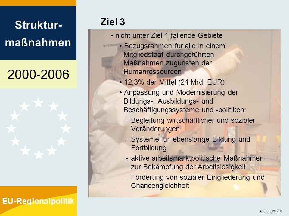 2000-2006 Struktur- maßnahmen EU-Regionalpolitik Agenda 2000 9 Gemeinschaftsinitiativen Im Mittelpunkt steht der zusätzliche Nutzen für die Gemeinschaft Vier Aktionsbereiche: - INTERREG: grenzüberschreitende, transnationale und interregionale Zusammenarbeit zur Förderung einer ausgewogenen Entwicklung und Raumplanung (Finanzierung: EFRE) - URBAN: Stadterneuerung (Finanzierung: EFRE) - LEADER: Entwicklung des ländlichen Raums (Finanzierung: EAGFL-Ausrichtung) - EQUAL: transnationale Zusammenarbeit zur Förderung neuer Methoden zur Bekämpfung von Diskriminierungen und Ungleichheiten im Zusammenhang mit dem Arbeitsmarkt (Finanzierung: ESF) Gesamtmittel = 5,35% der Strukturfondsmittel