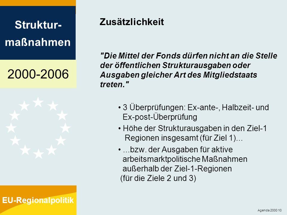 2000-2006 Struktur- maßnahmen EU-Regionalpolitik Agenda 2000 10 Zusätzlichkeit