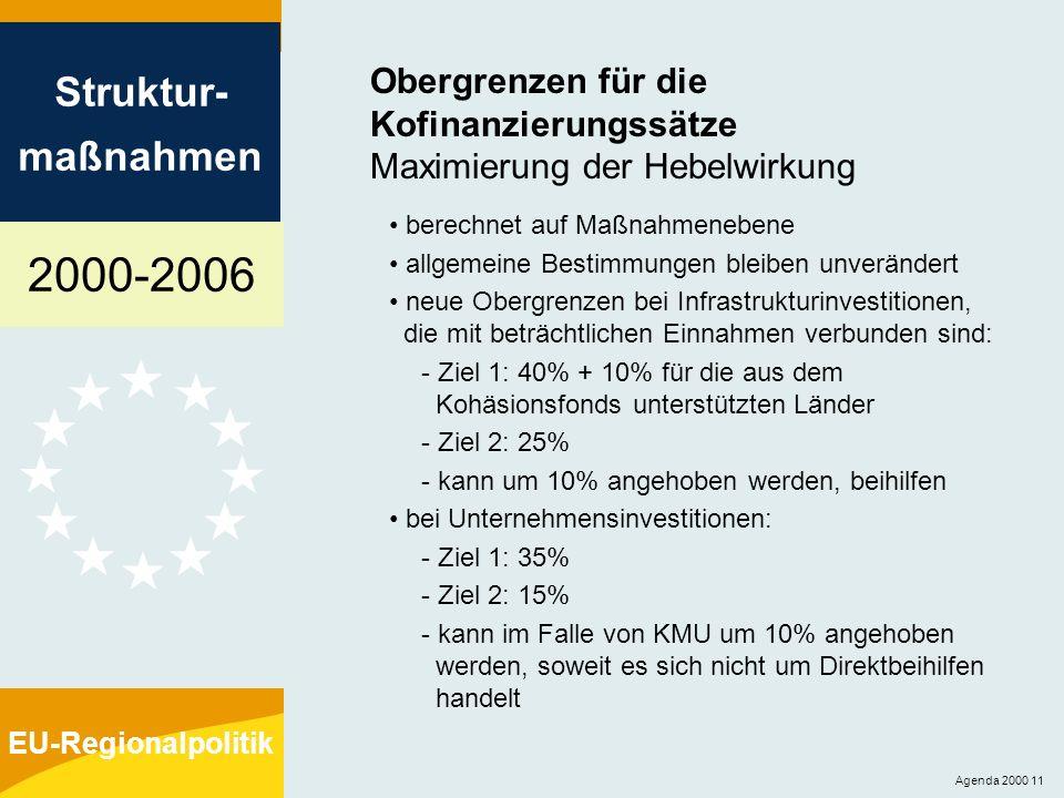 2000-2006 Struktur- maßnahmen EU-Regionalpolitik Agenda 2000 11 Obergrenzen für die Kofinanzierungssätze Maximierung der Hebelwirkung berechnet auf Ma