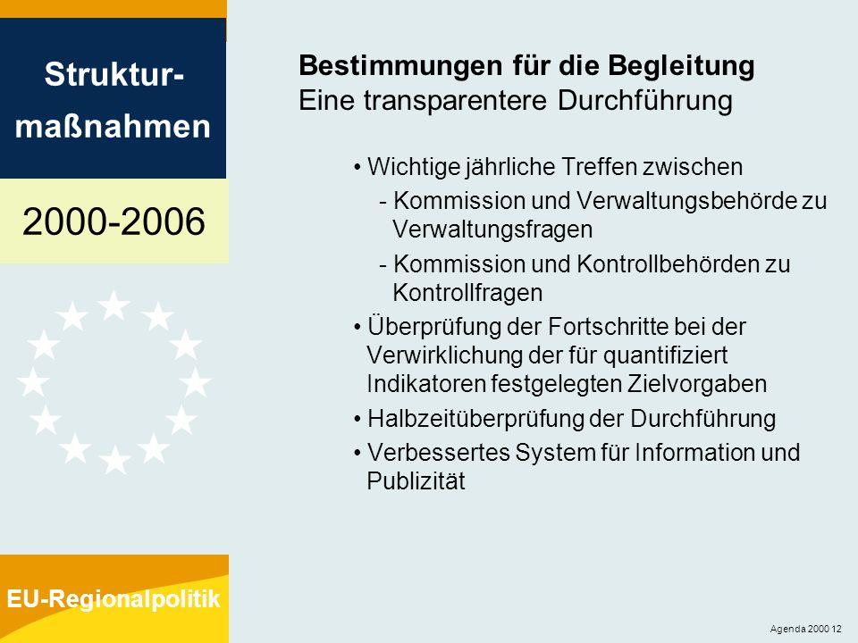 2000-2006 Struktur- maßnahmen EU-Regionalpolitik Agenda 2000 12 Bestimmungen für die Begleitung Eine transparentere Durchführung Wichtige jährliche Tr