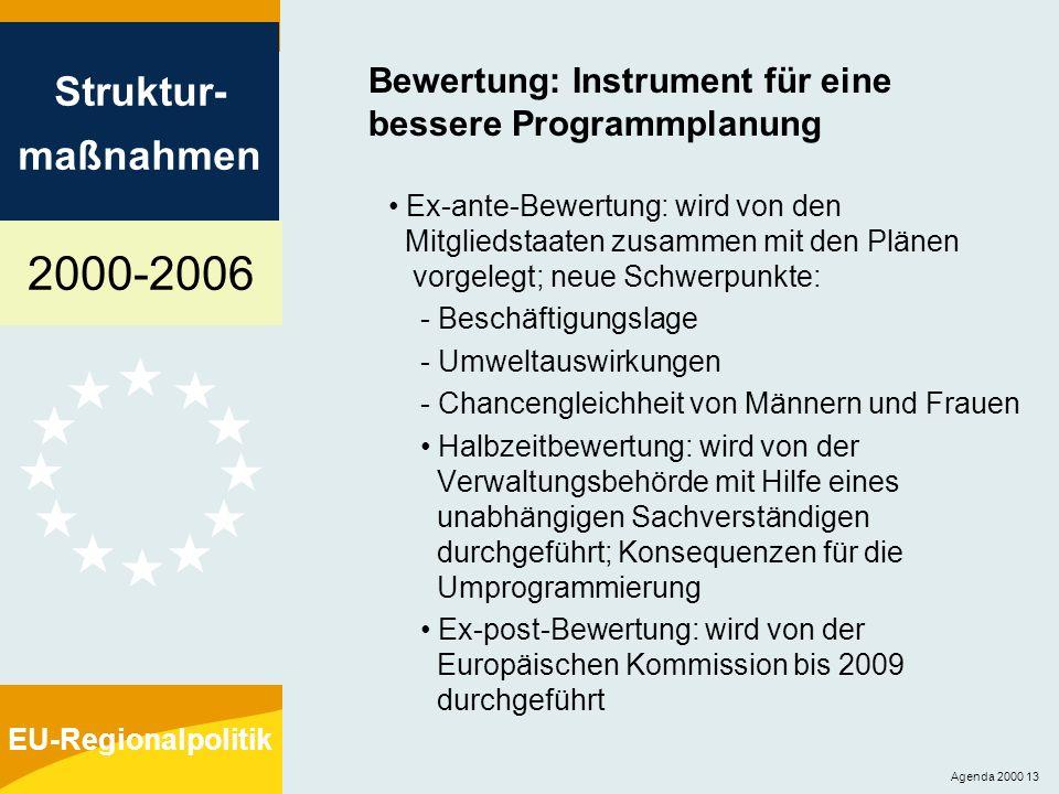 2000-2006 Struktur- maßnahmen EU-Regionalpolitik Agenda 2000 13 Bewertung: Instrument für eine bessere Programmplanung Ex-ante-Bewertung: wird von den