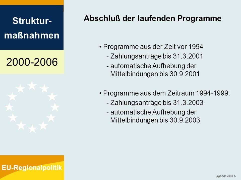 2000-2006 Struktur- maßnahmen EU-Regionalpolitik Agenda 2000 17 Abschluß der laufenden Programme Programme aus der Zeit vor 1994 - Zahlungsanträge bis