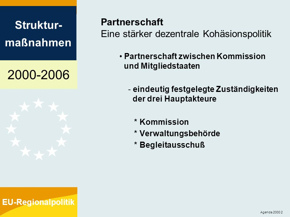 2000-2006 Struktur- maßnahmen EU-Regionalpolitik Agenda 2000 3 Programmplanung: vier Hauptschritte 1.Herausgabe von Leitlinien für die Programme durch die Kommission 2.Einreichung der Entwicklungspläne durch die Mitgliedstaaten nach Konsultation der Partner 3.Festlegung der Strategie durch die Kommission: - quantifizierte strategische Ziele - Schwerpunkte - Mittelzuweisungen 4.Detaillierte Programmierung der Maßnahmen durch die Verwaltungsbehörde und die Begleitausschüsse