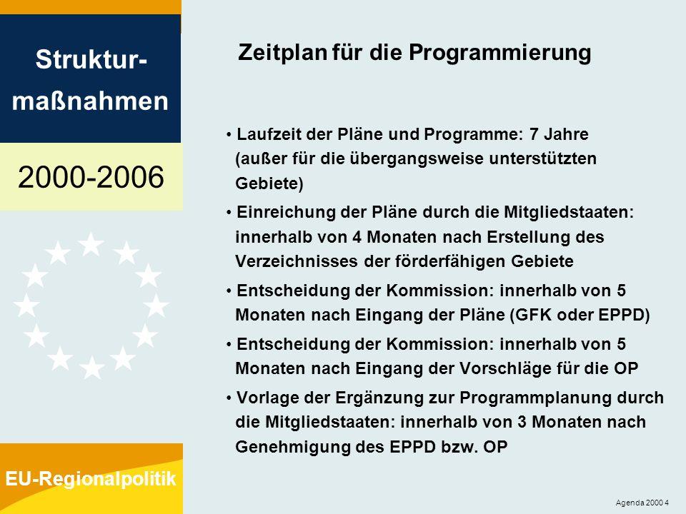 2000-2006 Struktur- maßnahmen EU-Regionalpolitik Agenda 2000 5 Bestimmungen für die Pläne und Programme Regionalentwicklungspläne: - verstärkte Ex-ante-Bewertung Gemeinschaftliche Förderkonzepte, EPPD: - strategische Schwerpunkte, Mittelzuweisungen und Durchführungsverfahren…..