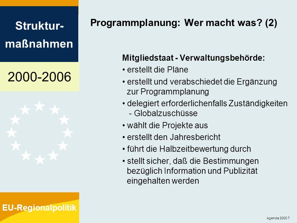 2000-2006 Struktur- maßnahmen EU-Regionalpolitik Agenda 2000 7 Programmplanung: Wer macht was? (2) Mitgliedstaat - Verwaltungsbehörde: erstellt die Pl