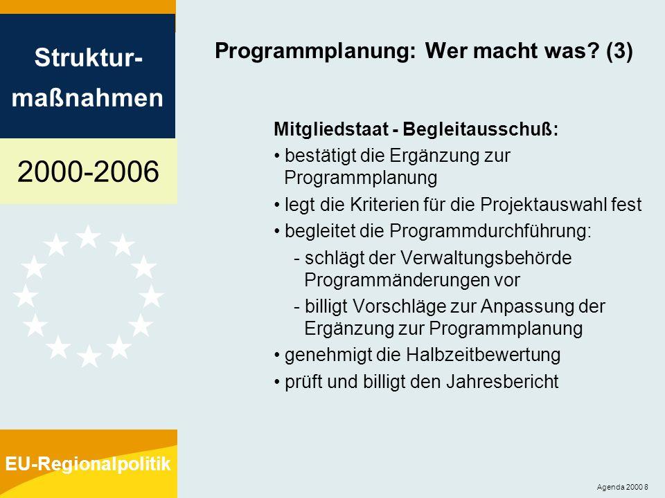 2000-2006 Struktur- maßnahmen EU-Regionalpolitik Agenda 2000 8 Programmplanung: Wer macht was? (3) Mitgliedstaat - Begleitausschuß: bestätigt die Ergä
