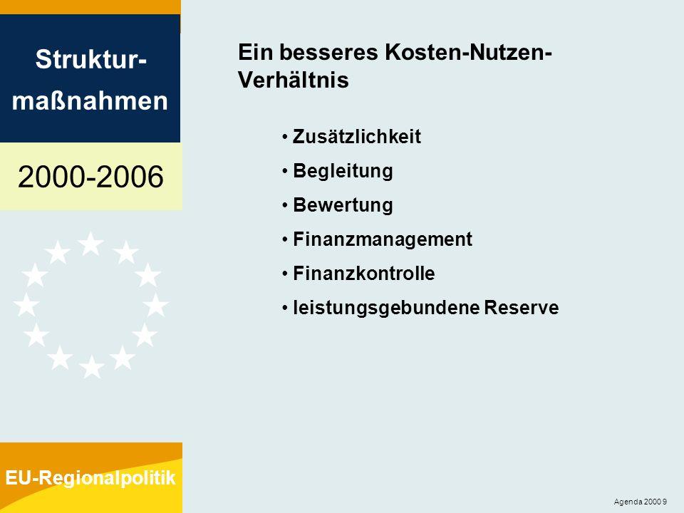 2000-2006 Struktur- maßnahmen EU-Regionalpolitik Agenda 2000 9 Ein besseres Kosten-Nutzen- Verhältnis Zusätzlichkeit Begleitung Bewertung Finanzmanage
