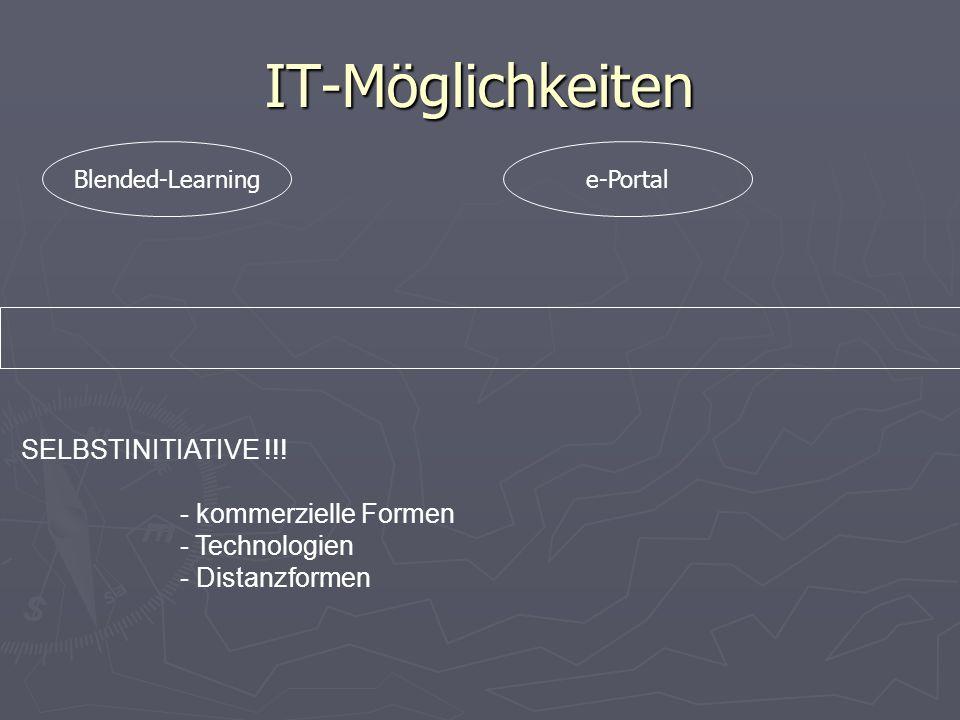 IT-Möglichkeiten SELBSTINITIATIVE !!! - kommerzielle Formen - Technologien - Distanzformen e-PortalBlended-Learning