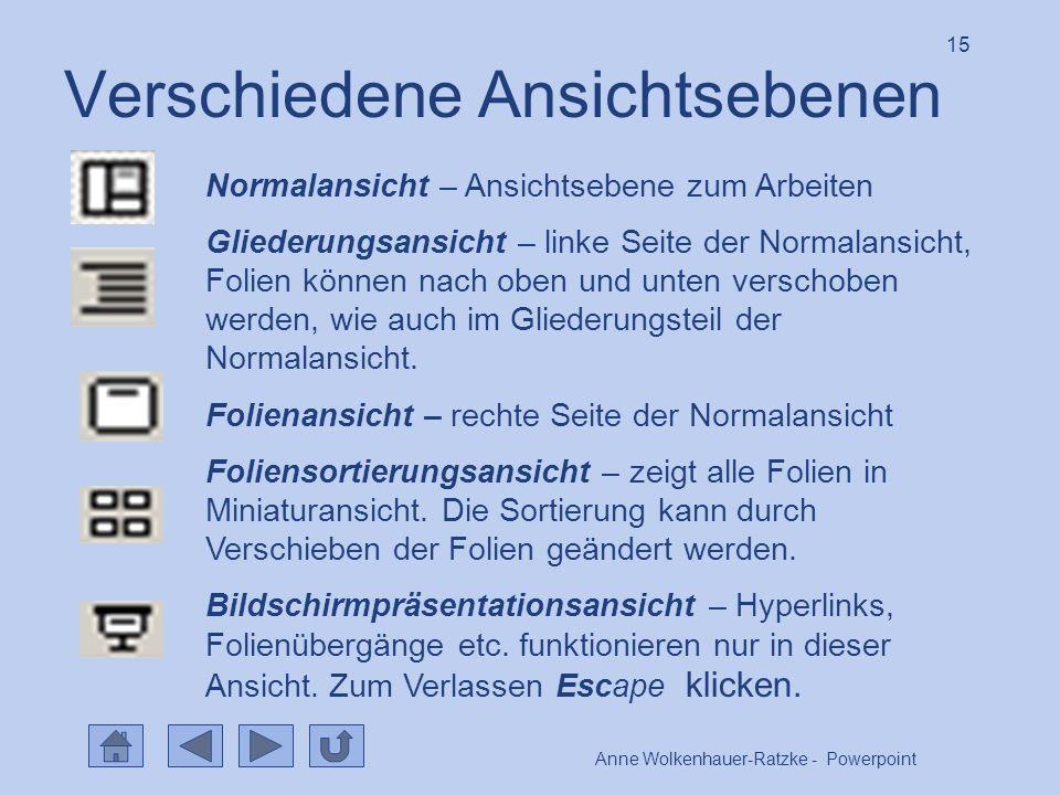 Anne Wolkenhauer-Ratzke - Powerpoint 15 Verschiedene Ansichtsebenen Normalansicht – Ansichtsebene zum Arbeiten Gliederungsansicht – linke Seite der Normalansicht, Folien können nach oben und unten verschoben werden, wie auch im Gliederungsteil der Normalansicht.