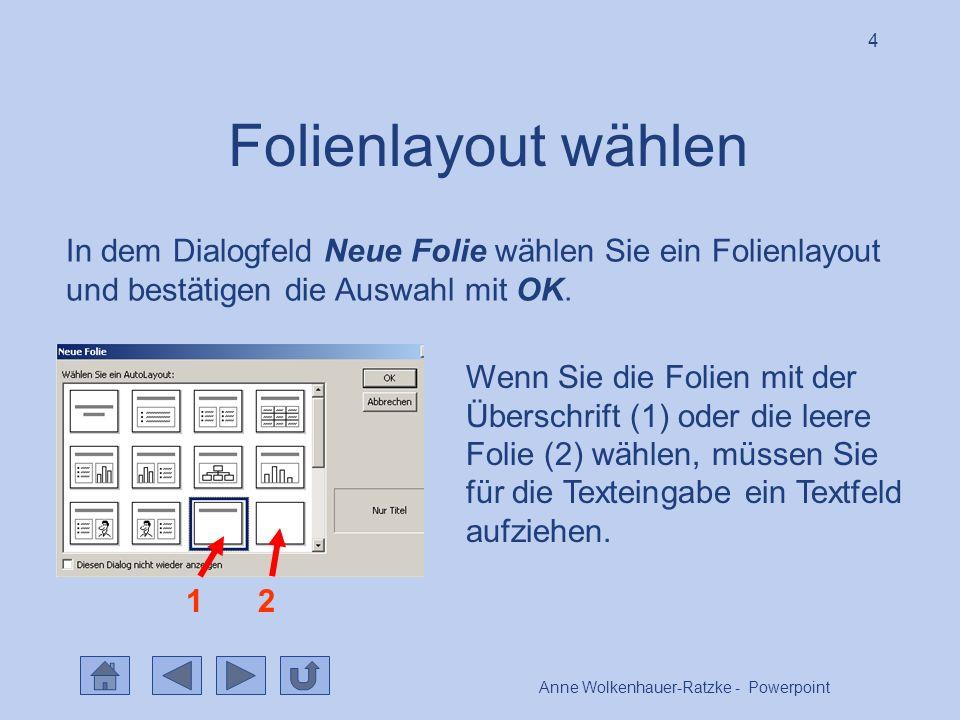 Anne Wolkenhauer-Ratzke - Powerpoint 4 Folienlayout wählen In dem Dialogfeld Neue Folie wählen Sie ein Folienlayout und bestätigen die Auswahl mit OK.