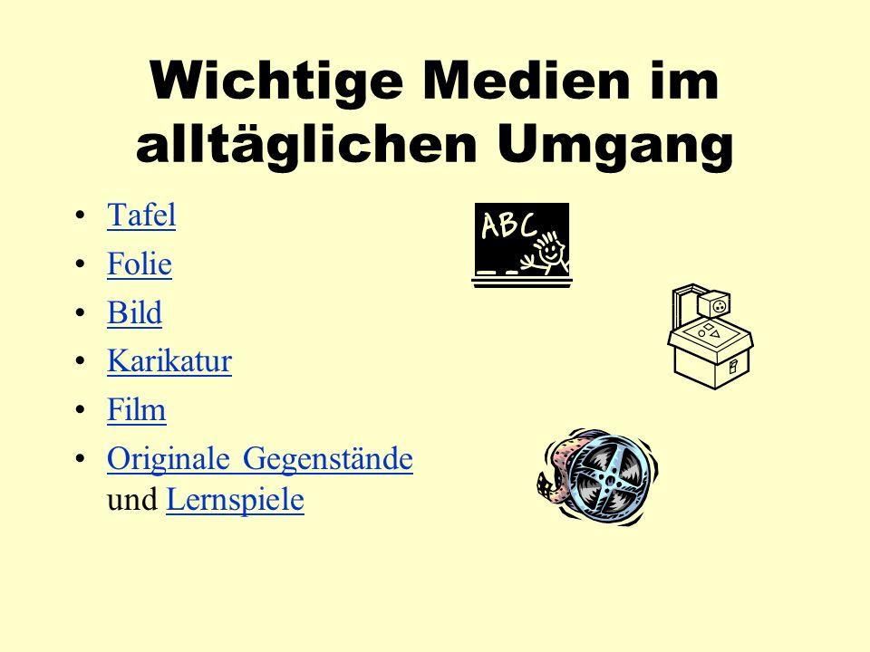 Wichtige Medien im alltäglichen Umgang Tafel Folie Bild Karikatur Film Originale Gegenstände und LernspieleOriginale GegenständeLernspiele