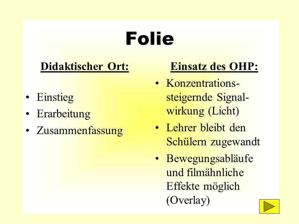 Folie Didaktischer Ort: Einstieg Erarbeitung Zusammenfassung Einsatz des OHP: Konzentrations- steigernde Signal- wirkung (Licht) Lehrer bleibt den Sch