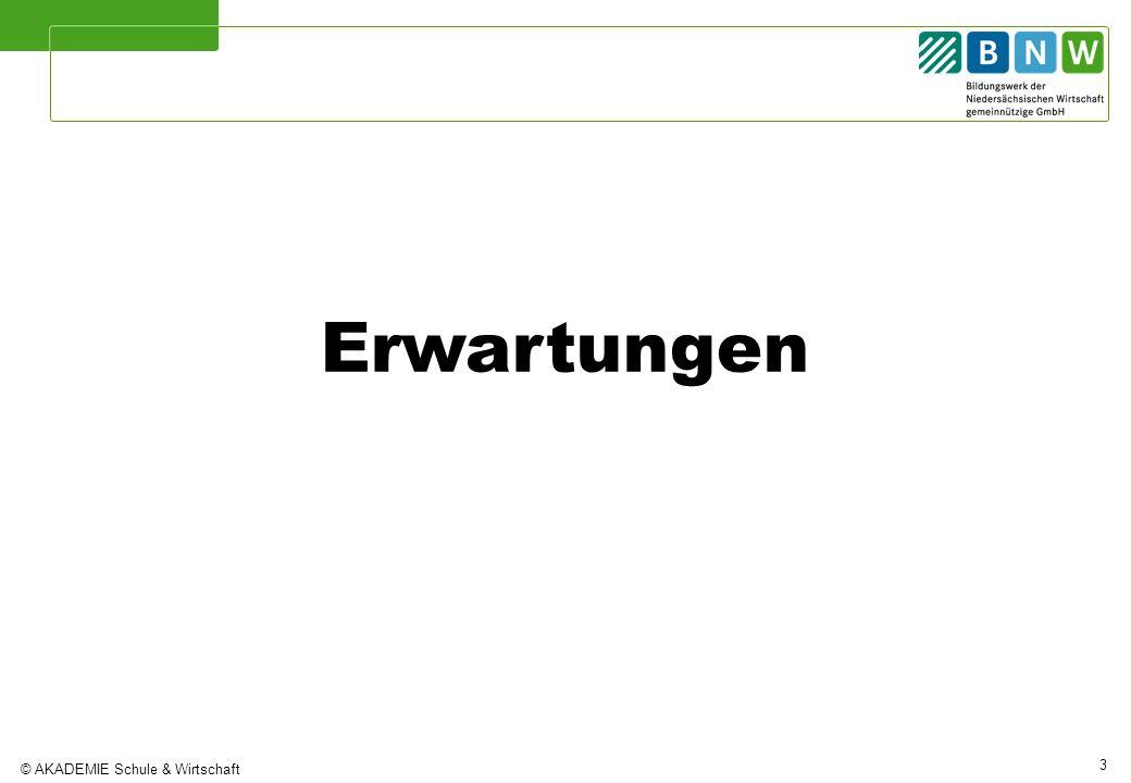 © AKADEMIE Schule & Wirtschaft 3 Erwartungen