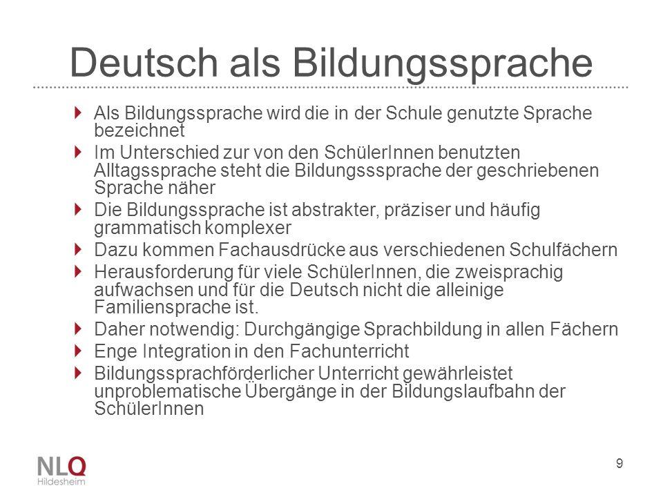 9 Deutsch als Bildungssprache Als Bildungssprache wird die in der Schule genutzte Sprache bezeichnet Im Unterschied zur von den SchülerInnen benutzten