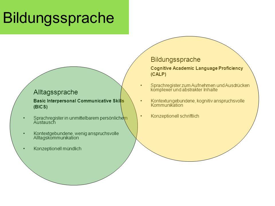 Bildungssprache Alltagssprache Basic Interpersonal Communicative Skills (BICS) Sprachregister in unmittelbarem persönlichem Austausch Kontextgebundene