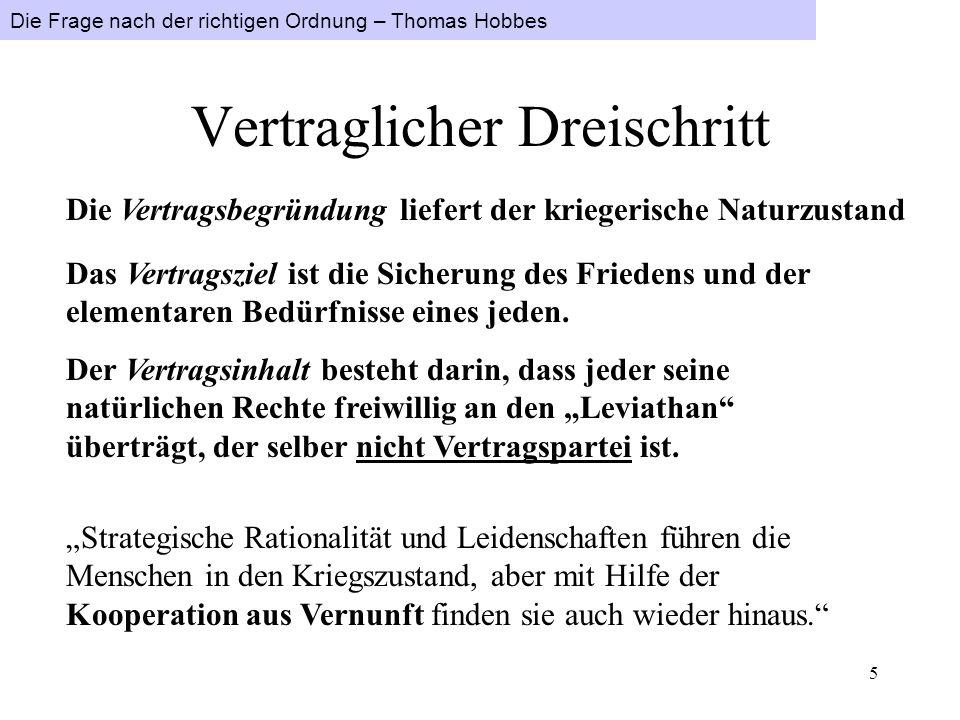 Die Frage nach der richtigen Ordnung – Thomas Hobbes 4 Es ist subjektiv rational, sich stets in der Rüstung zu befinden. Subjektiver Rationalismus füh