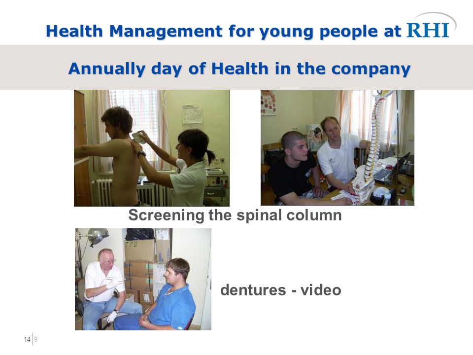 914 Health Management for young people at Annually day of Health in the company Screening the spinal column dentures - video