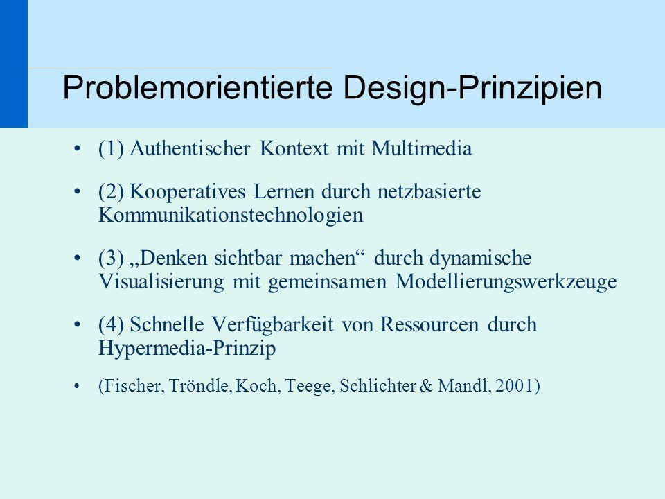 Problemorientierte Design-Prinzipien (1) Authentischer Kontext mit Multimedia (2) Kooperatives Lernen durch netzbasierte Kommunikationstechnologien (3