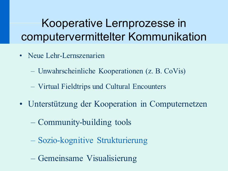Kooperative Lernprozesse in computervermittelter Kommunikation Neue Lehr-Lernszenarien –Unwahrscheinliche Kooperationen (z. B. CoVis) –Virtual Fieldtr