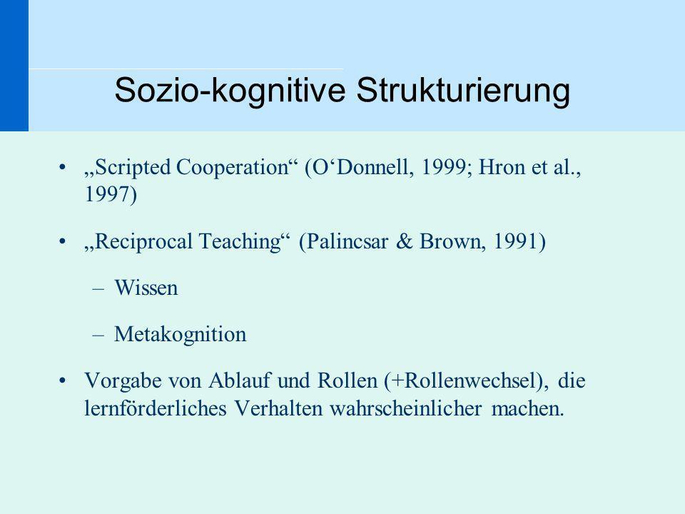 Sozio-kognitive Strukturierung Scripted Cooperation (ODonnell, 1999; Hron et al., 1997) Reciprocal Teaching (Palincsar & Brown, 1991) –Wissen –Metakog