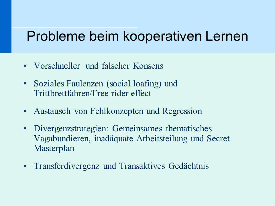 Probleme beim kooperativen Lernen Vorschneller und falscher Konsens Soziales Faulenzen (social loafing) und Trittbrettfahren/Free rider effect Austaus