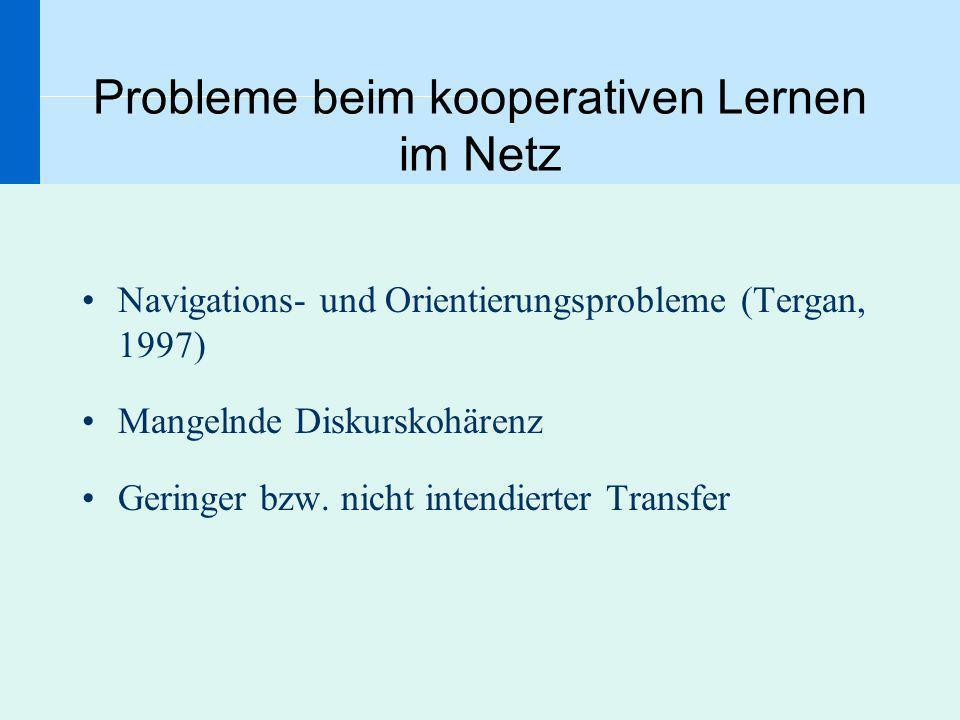 Probleme beim kooperativen Lernen im Netz Navigations- und Orientierungsprobleme (Tergan, 1997) Mangelnde Diskurskohärenz Geringer bzw. nicht intendie