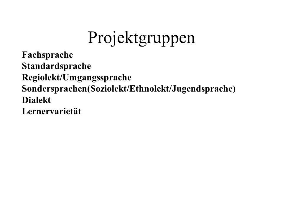 Fachsprache Standardsprache Regiolekt/Umgangssprache Sondersprachen(Soziolekt/Ethnolekt/Jugendsprache) Dialekt Lernervarietät Projektgruppen